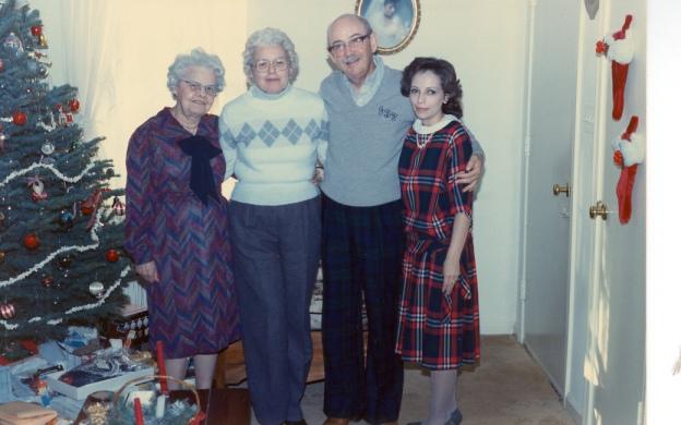 Christmas 1985. Louise Long, Emilie Long Purdy, John Purdy and Kathy.